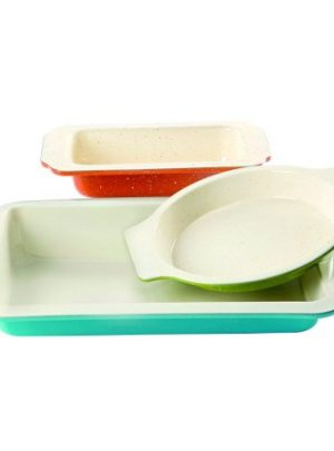 Gibson Home Imbue Color Splash 3 Pc. Bakeware Set