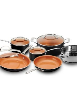 Gotham Steel 10-Piece Nonstick Copper Chef's Frying Pan & Cookware Set