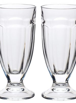 KitchenCraft World of Flavours Stateside Set of 2, 11.9floz Milkshake Glasses