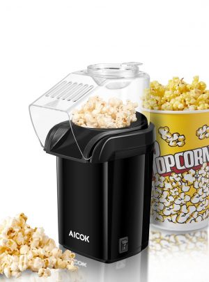 Aicok Popcorn Maker, Popcorn Machine, Hot Air Popcorn Popper No Oil Needed, With Wide Mouth Design and 1200W Power, Includes Measuring Cup and Removable Lid, FDA Approved and BPA-Free