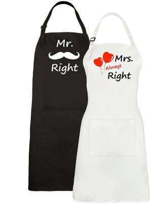 Couples Aprons – Mr. Right & Mrs. Always Right Aprons With Pocket