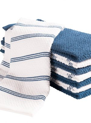 Pantry Piedmont Kitchen Towels (Set of 8, 16×26 inches), 100% Cotton, Ultra Absorbent Terry Towels – Paris Blue or Pewter