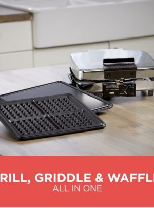 BLACK & DECKER 3-in-1 Waffle Maker, Indoor Grill & Griddle, Stainless Steel