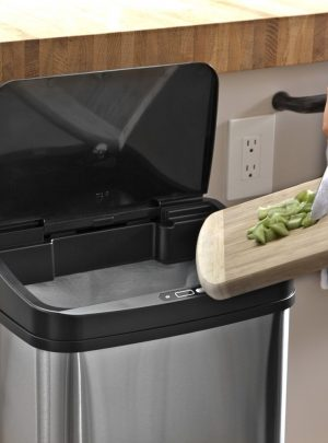 Ninestars  Automatic Touchless Motion Sensor Oval Trash Can, 21 Gal. 80 L, Stainless Steel
